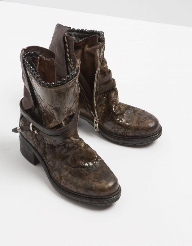 נעלי נשים - A.S. 98 - מגפון NOVA קרוקו - חום כהה