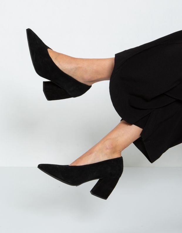 נעלי נשים - Jeffrey Campbell - נעלי סירה זמש HALT - שחור