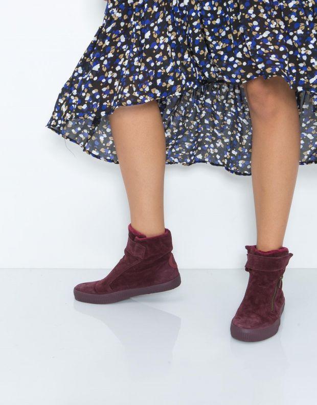 נעלי נשים - Aro - מגפון NOELLE רוכסן סקוטצ'' - בורדו