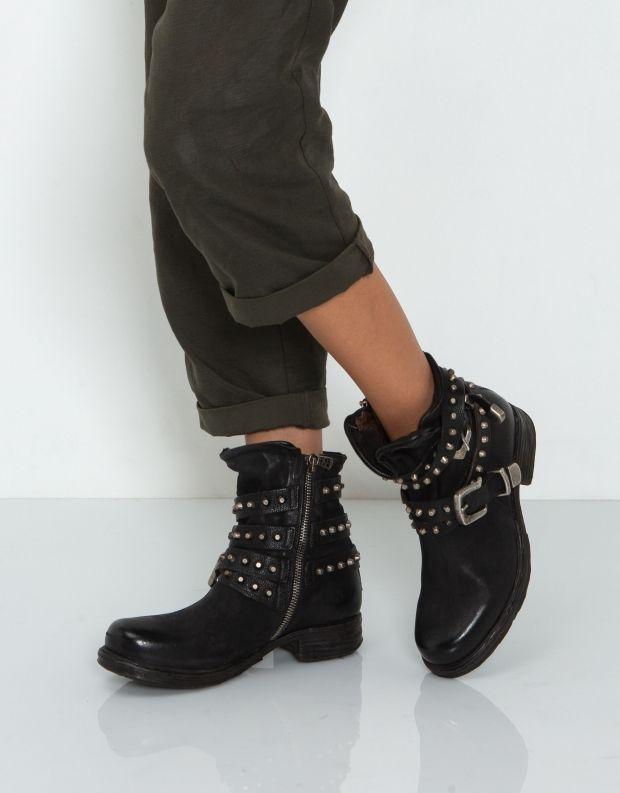 נעלי נשים - A.S. 98 - מגפון SAINTEC רצועת ניטים - שחור