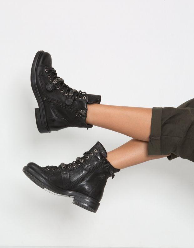 נעלי נשים - Mjus - מגפון CAFE שרוך רצועות - שחור