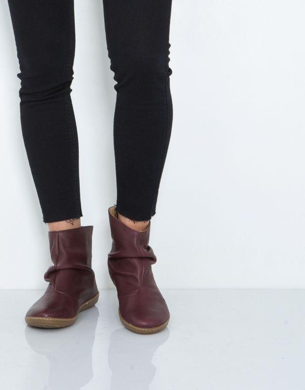 נעלי נשים - El Naturalista - מגפון CORAL קפלים - בורדו