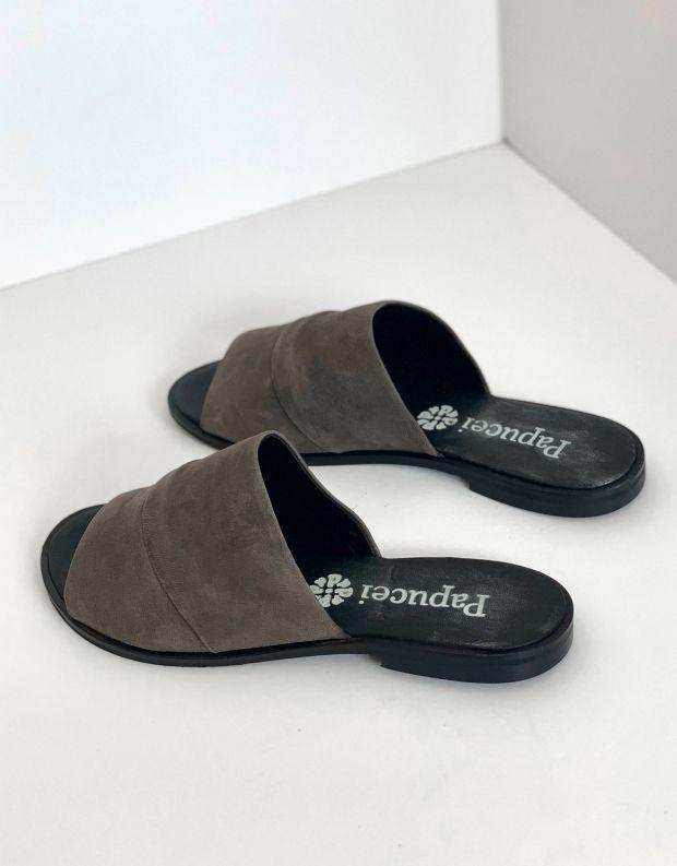 נעלי נשים - Papucei - כפכפי עור VANDA - אפור