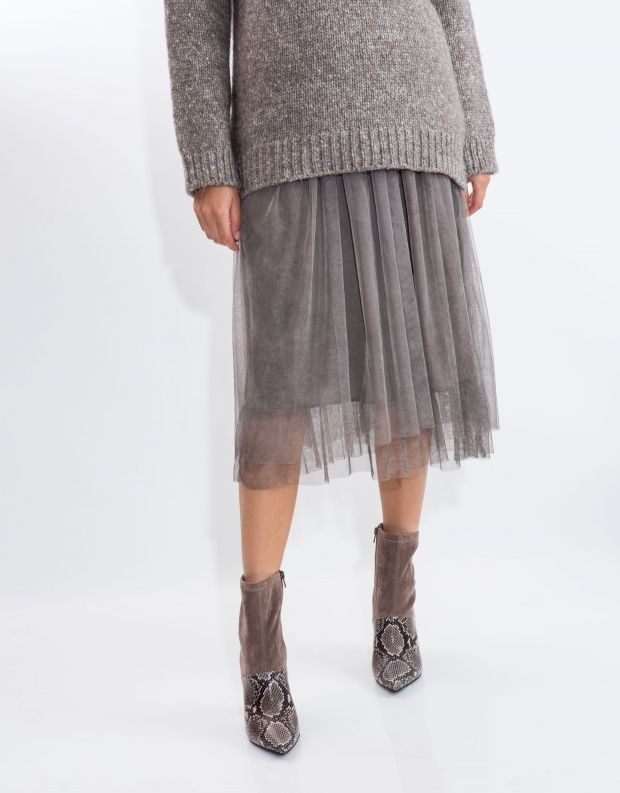 נעלי נשים - Jeffrey Campbell - מגפון LUSTFUL משולב - חום נחש