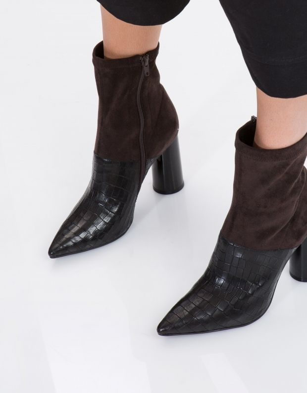 נעלי נשים - Jeffrey Campbell - מגפון LUSTFUL משולב - שחור קרוקו