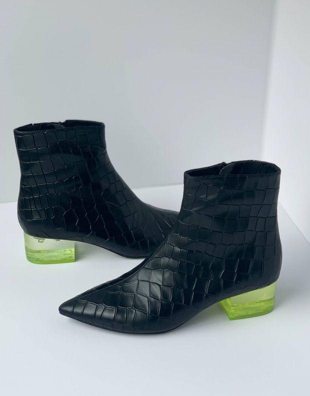 נעלי נשים - Jeffrey Campbell - מגפון LUMINATE - שחור קרוקו