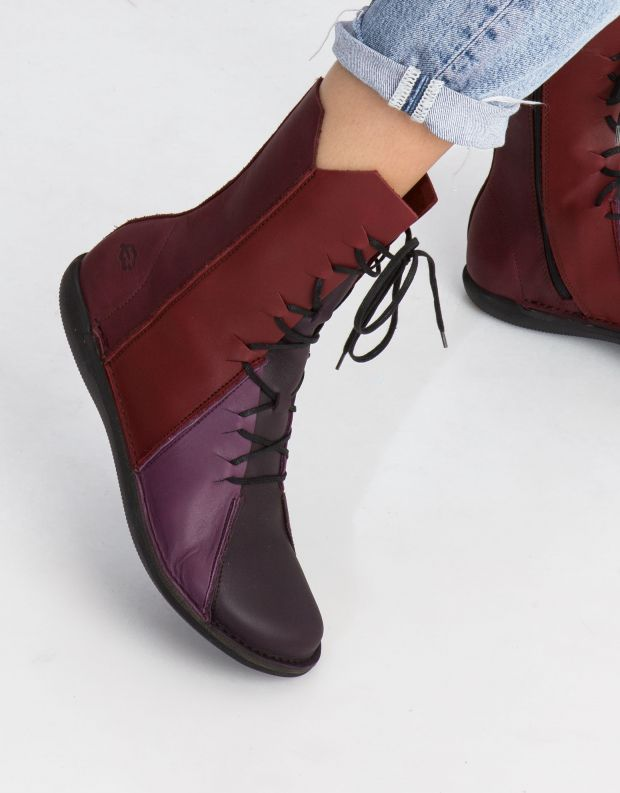 נעלי נשים - loints of Holland - מגף NATURAL משולב - סגול   אדום