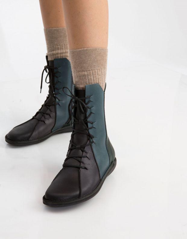 נעלי נשים - loints of Holland - מגף NATURAL משולב - שחור כחול