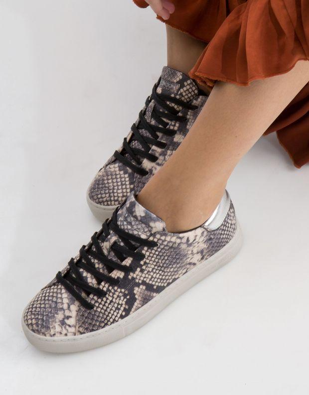 נעלי נשים - Crime London - סניקרס BEAT נחש - אפור   לבן