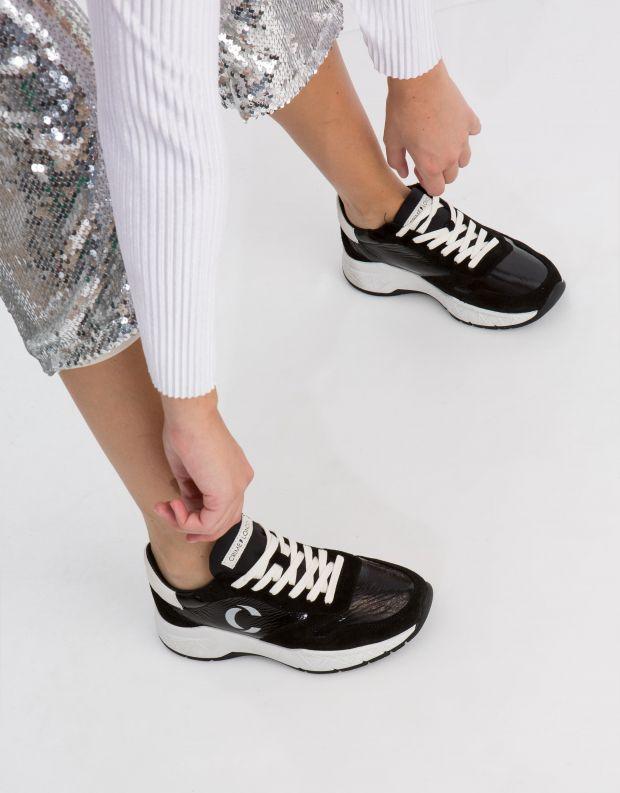 נעלי נשים - Crime London - סניקרס MAGNETIC מבריק - שחור