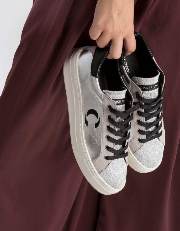 נעלי נשים - Crime London - סניקרס SONIC - כסף   שחור