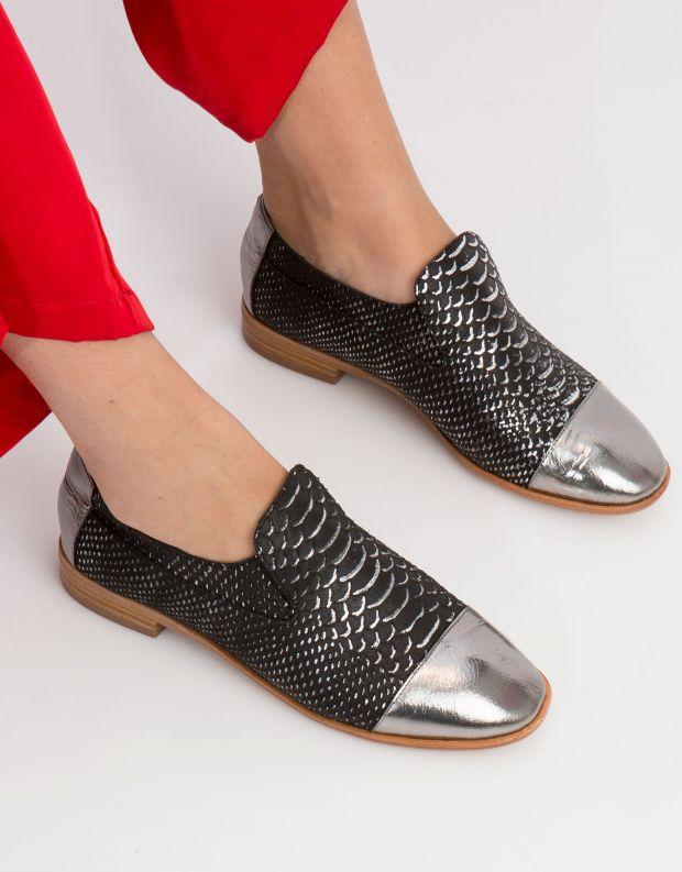 נעלי נשים - Jeffrey Campbell - נעל BARKLEY נחש - שחור   כסף