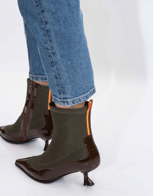 נעלי נשים - Jeffrey Campbell - מגפון SNORKEL - חום   ירוק