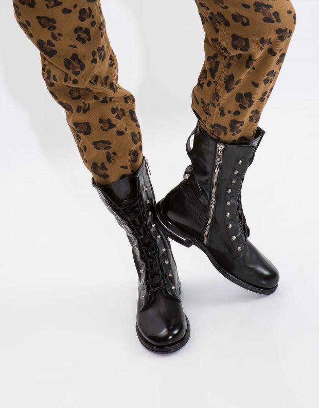 נעלי נשים - A.S. 98 - מגף TEAL שרוך וניטים - שחור