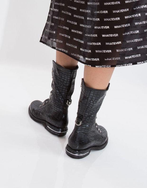 נעלי נשים - A.S. 98 - מגף TEAL שרוך וניטים - שחור קרוקו
