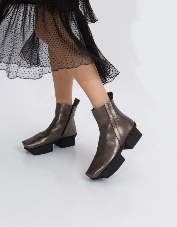 נעלי נשים - Trippen - מגפון FANNY BOX - אפור מטאלי