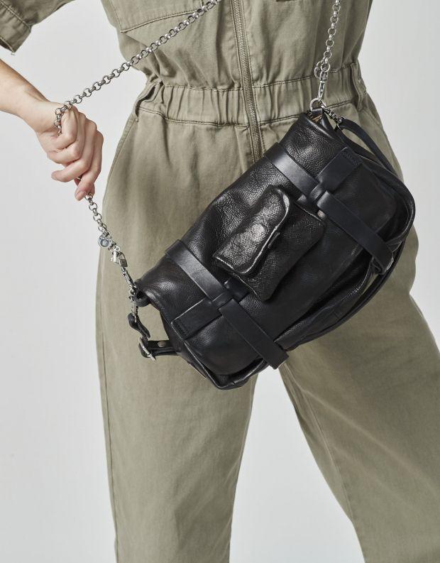 נעלי נשים - A.S. 98 - תיק רצועת שרשרת עם ארנק - שחור