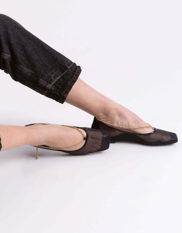 נעלי נשים - Jeffrey Campbell - סירה GERLDINE שרשרת - שחור   זהב