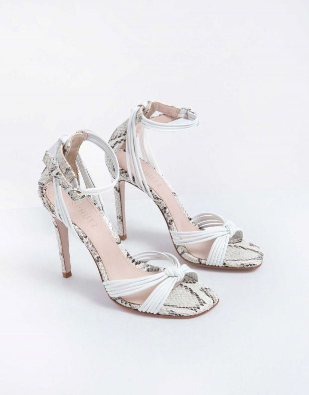 נעלי נשים - Schutz - סנדל CAROLINA - לבן נחש