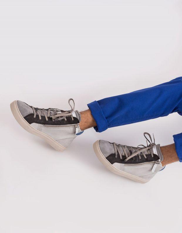 נעלי גברים - Crime London - סניקרס JAVA HI - לבן   שחור