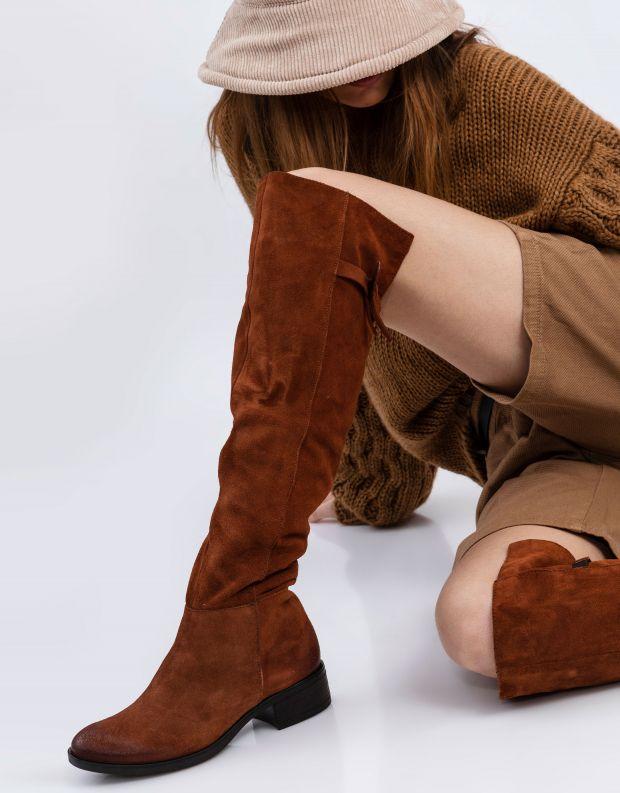 נעלי נשים - Mjus - מגפי זמש MARILU - קוניאק