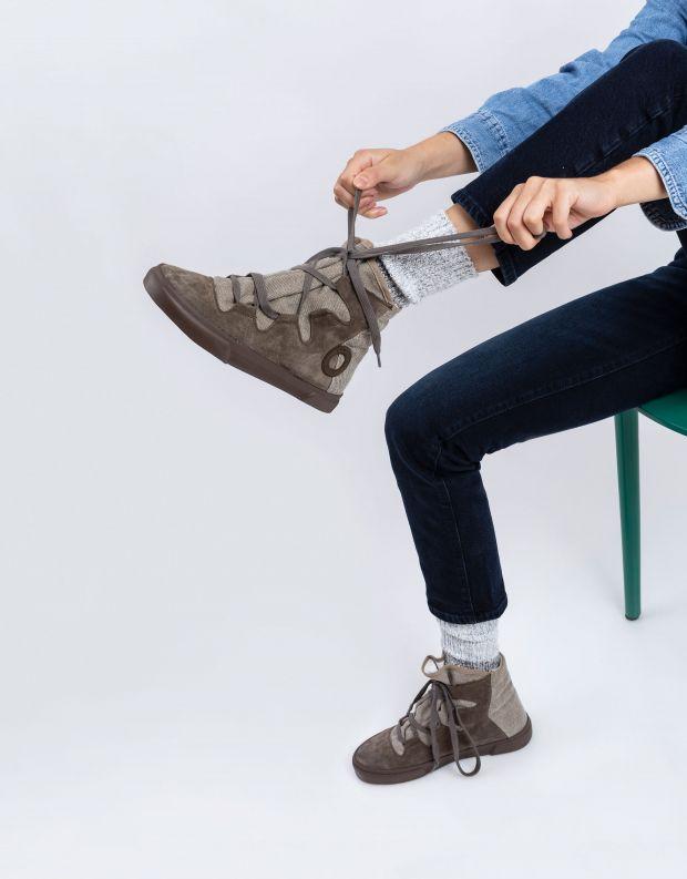נעלי נשים - Aro - מגפוני קשירה EMMA ג'ינס - חום