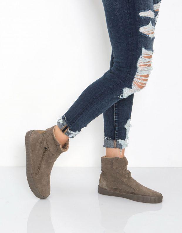 נעלי נשים - Aro - מגפון NOELLE רוכסן סקוטצ' - חום