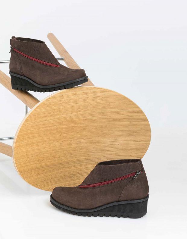 נעלי נשים - loints of Holland - מגפונים עם רוכסן LIGHTING - חום