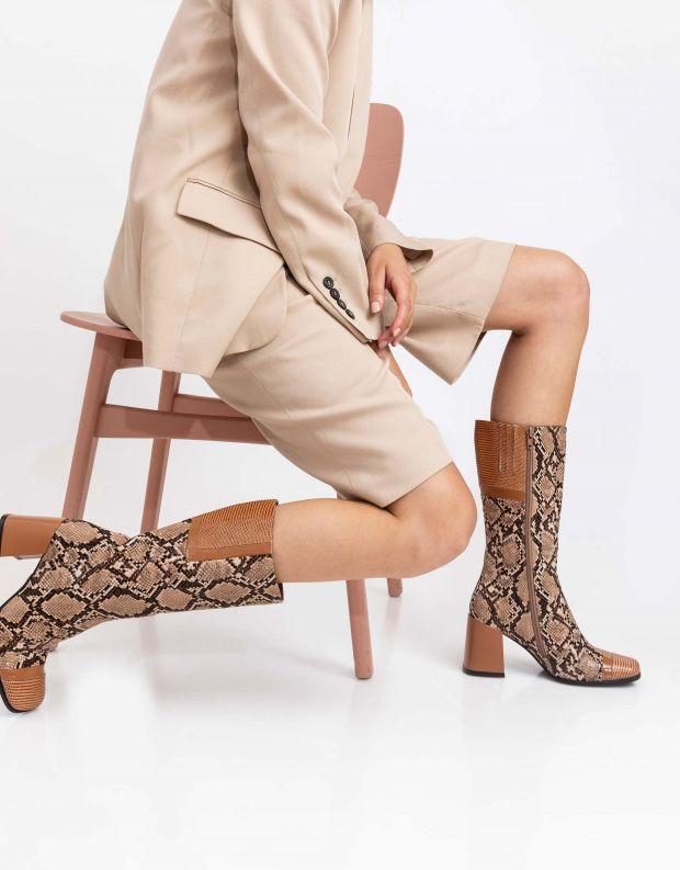 נעלי נשים - Jeffrey Campbell - מגפי נחש BARBAREL - טאן