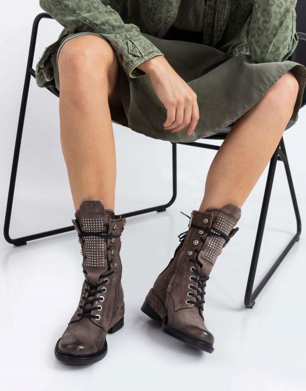 נעלי נשים - A.S. 98 - מגפיים MIRACLE לשון ניטים - אפור