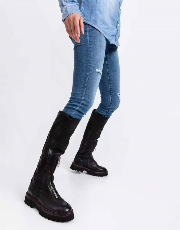 נעלי נשים - A.S. 98 - מגפי עור NATIVE - שחור
