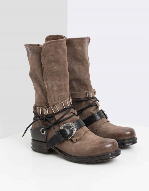 נעלי נשים - A.S. 98 - מגפי רצועות ושרוך SAINTEC - חום בהיר