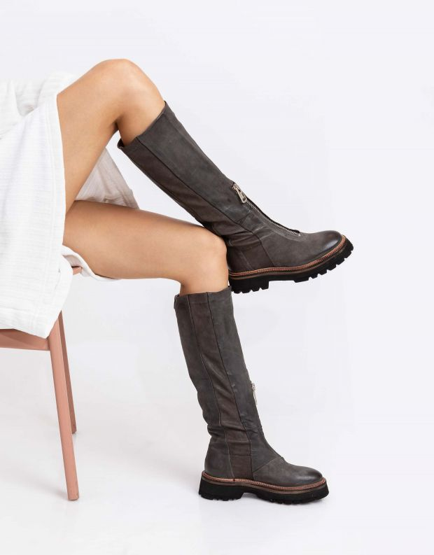 נעלי נשים - A.S. 98 - מגפי עור NATIVE - אפור