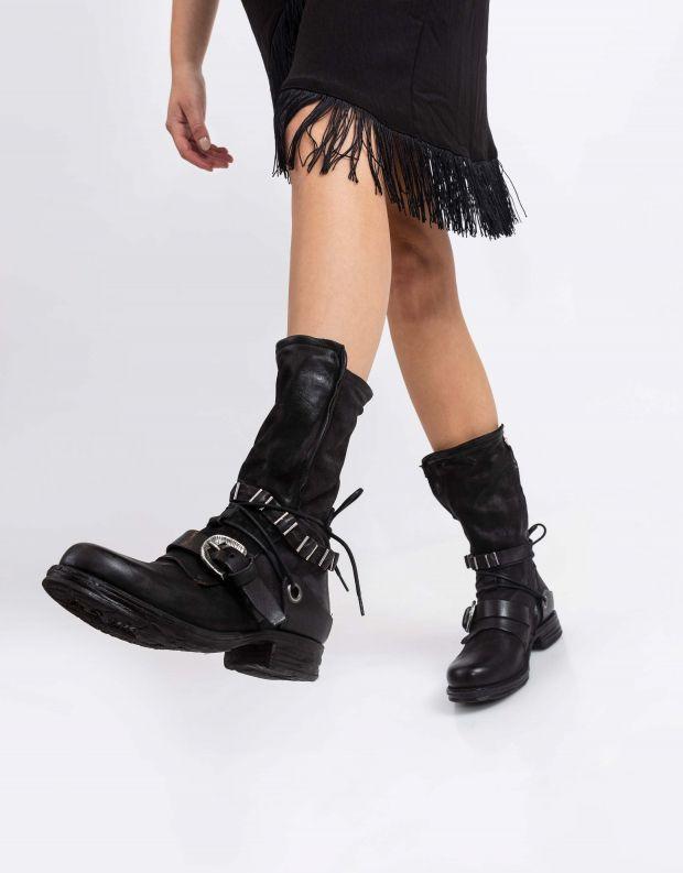 נעלי נשים - A.S. 98 - מגפי רצועות ושרוך SAINTEC - שחור