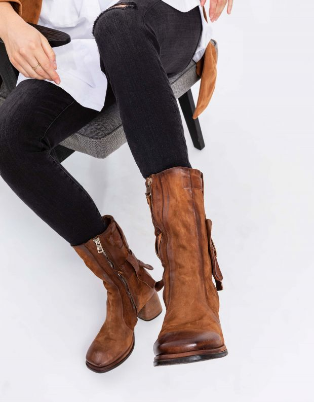 נעלי נשים - A.S. 98 - מגפיים שתי וערב DIZA - חום בהיר