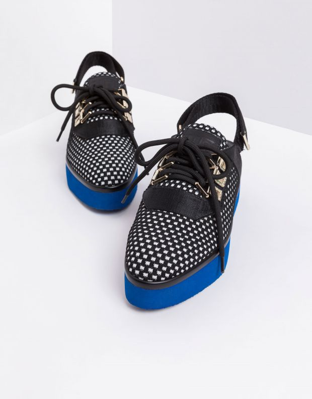 נעלי נשים - United Nude - סנדלי פלטפורמה MIKU SPACE - שחור לבן
