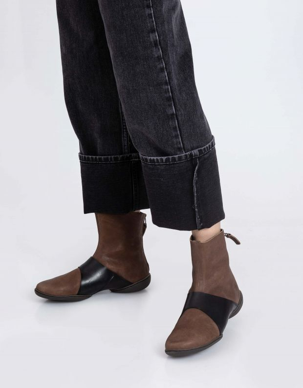 נעלי נשים - Trippen - מגפונים LOOP CUP - חום   שחור