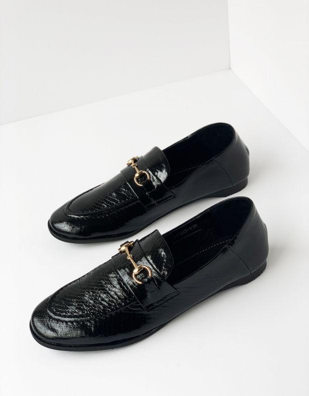 נעלי נשים - Yuko Imanishi - נעלי מוקסינים SACHI - שחור מבריק