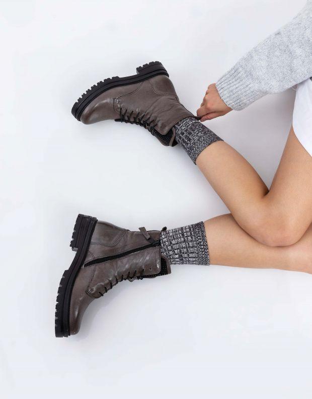 נעלי נשים - Mjus - מגפוני DOBLE לשון ניטים - אפור