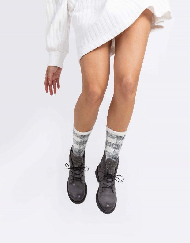נעלי נשים - Mjus - מגפונים לשון ניטים PALLY - אפור