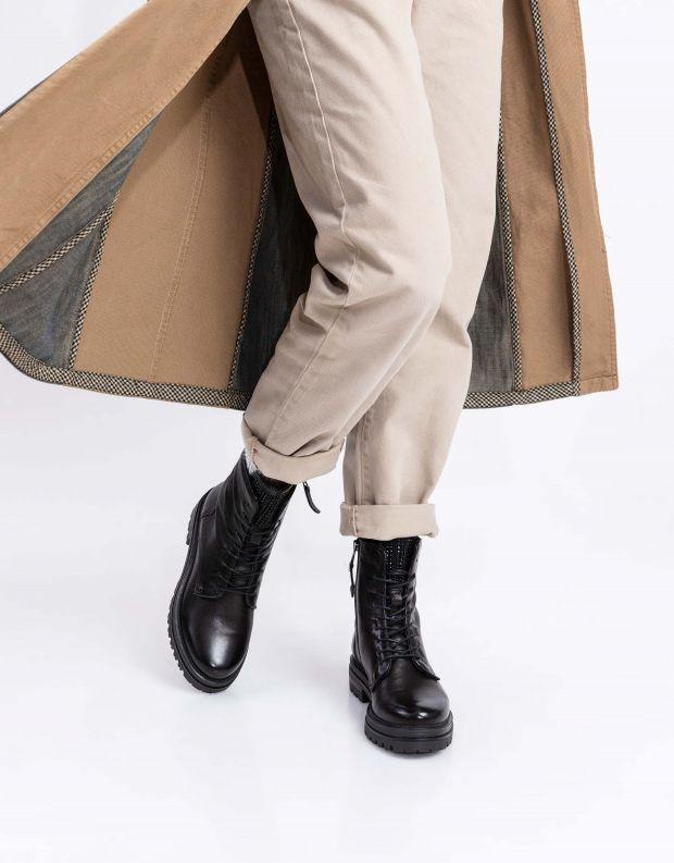 נעלי נשים - Mjus - מגפוני DOBLE לשון ניטים - שחור