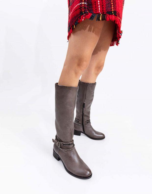 נעלי נשים - Mjus - מגפי MARILU רצועות ניטים - אפור
