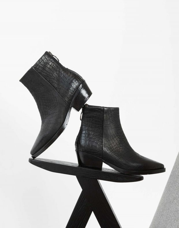 נעלי נשים - Mjus - מגפוני CALAMITY קרוקו - שחור