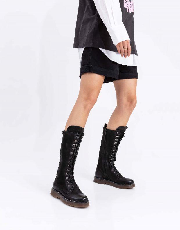 נעלי נשים - Mjus - מגפי עור TRIS - שחור