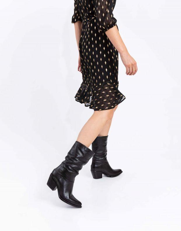 נעלי נשים - Mjus - מגפי עור TEP - שחור