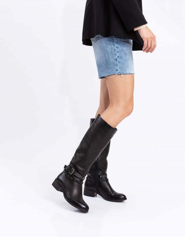 נעלי נשים - Mjus - מגפי MARILU רצועות ניטים - שחור