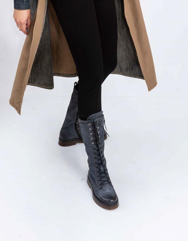 נעלי נשים - Mjus - מגפי עור TRIS - אפור