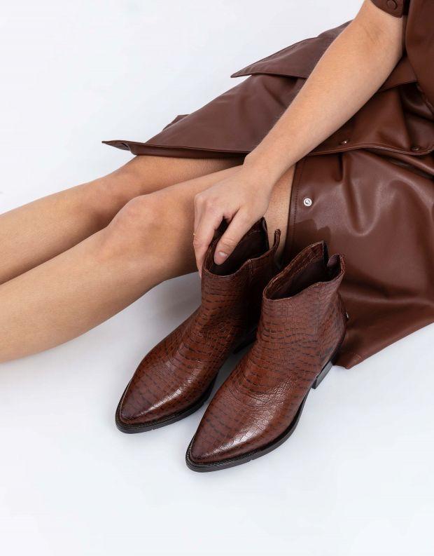 נעלי נשים - Mjus - מגפוני CALAMITY קרוקו - חום כהה