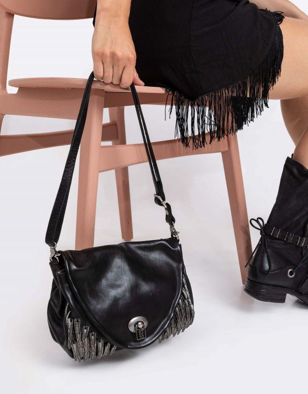 נעלי נשים - A.S. 98 - תיק שרשרת ונוצות - שחור
