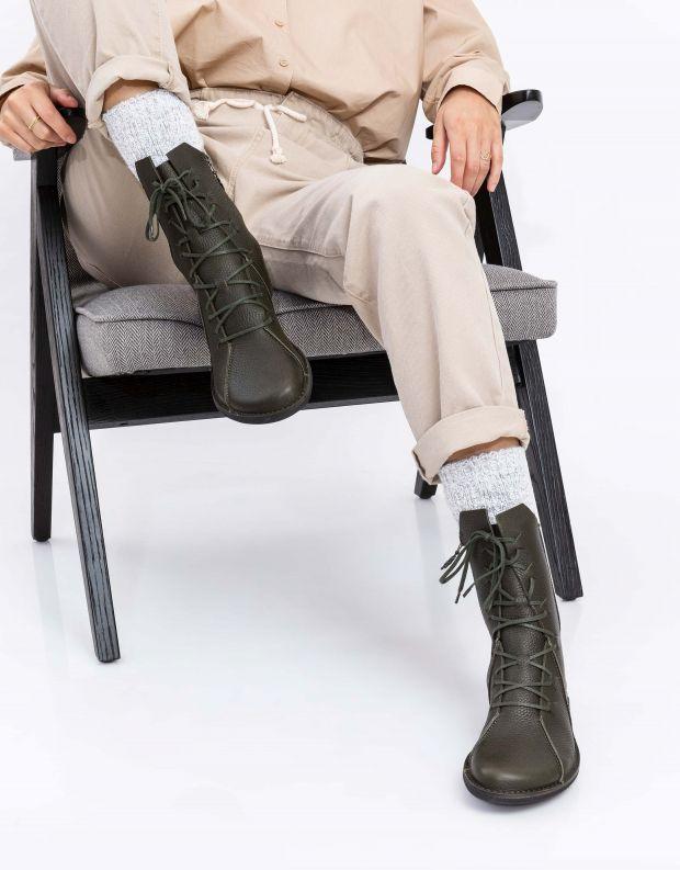 נעלי נשים - loints of Holland - מגפיים עם תיפורים NATURAL - ירוק